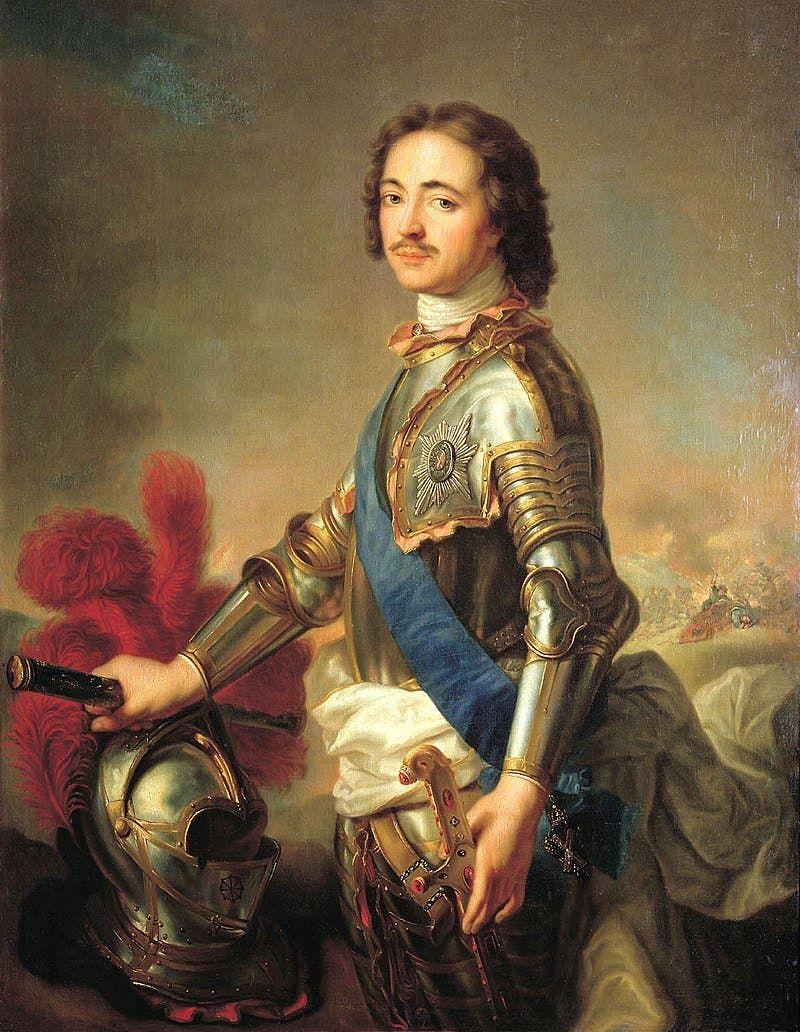 لوحة زيتية تجسد بطرس الأكبر امبراطور روسيا