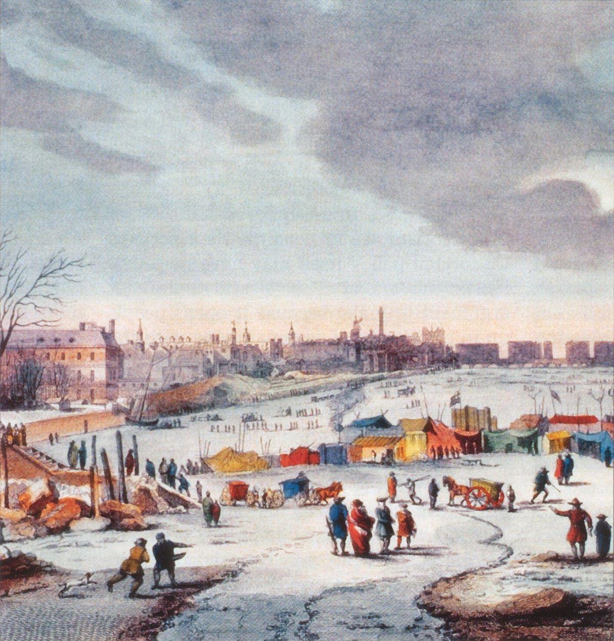 لوحة تجسد تجمد نهر التيمز بلندن