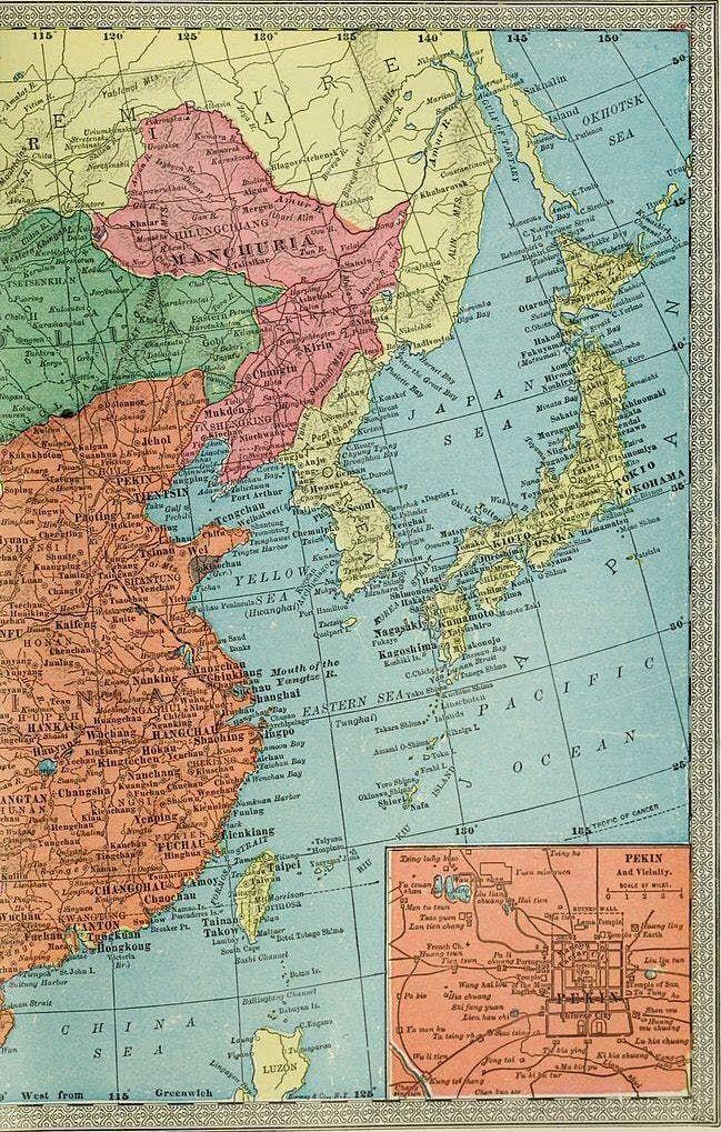 خريطة تبرز موقع منشوريا