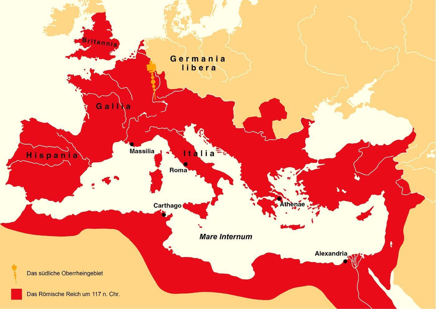 خريطة الإمبراطورية الرومانية خلال أوج توسعها