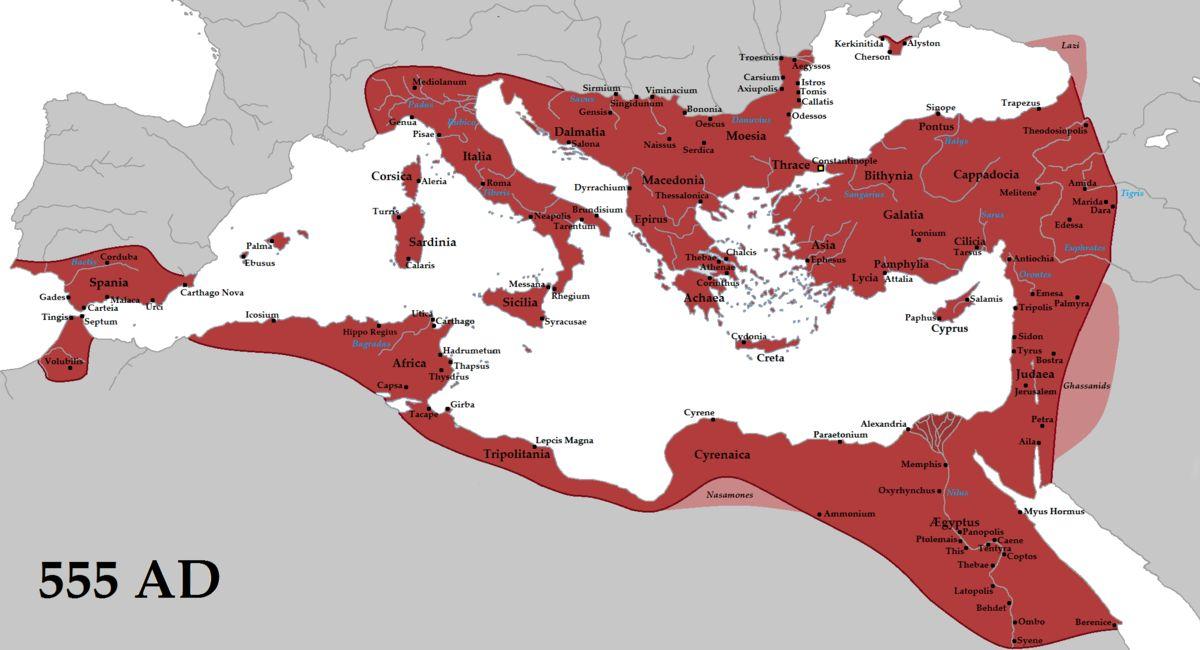 خريطة الإمبراطورية البيزنطية في حدود منتصف القرن السادس عشر