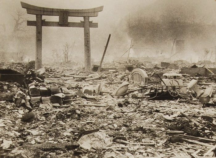 جانب من الخراب بأحد أهم معالم ناغازاكي عقب استهدافها بالقنبلة الذرية