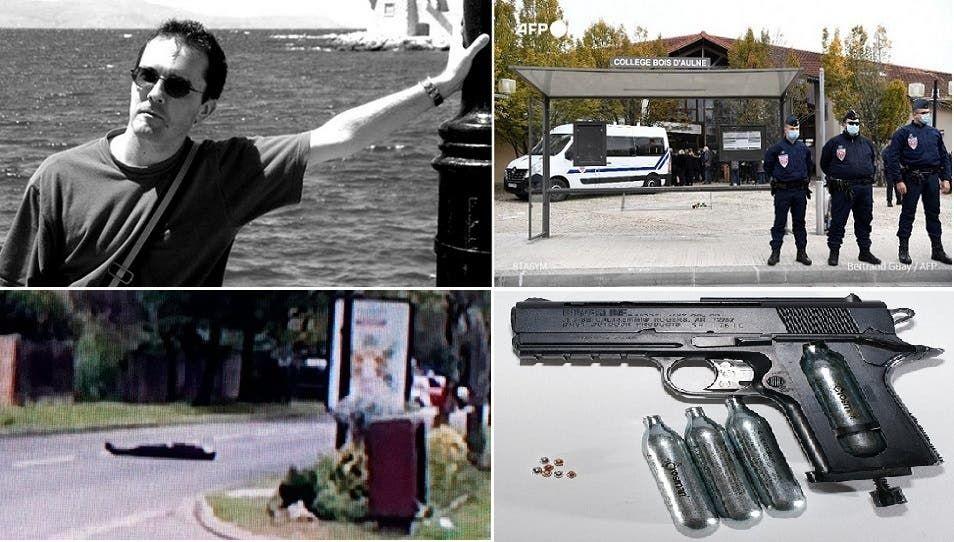 المدرس ومدخل المدرسة البعيدة 30 كيلومترا عن باريس، ومسدس كروي الطلقات، كالذي كان مع الشيشاني قبل مقتله برصاص الشرطة