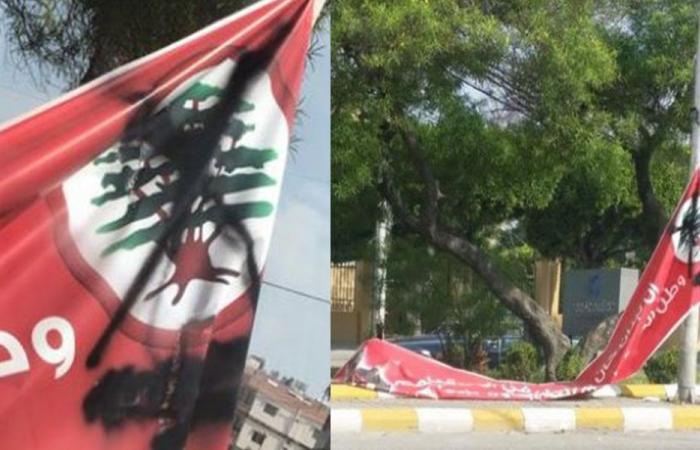 """التعرض للافتة رفعتها """"القوات"""" لصفير في صيدا"""