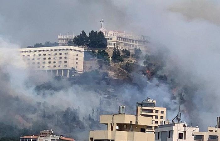 """إخماد الحريق قرب """"دير الصليب""""… وإسعاف 6 أشخاص ميدانيًا"""