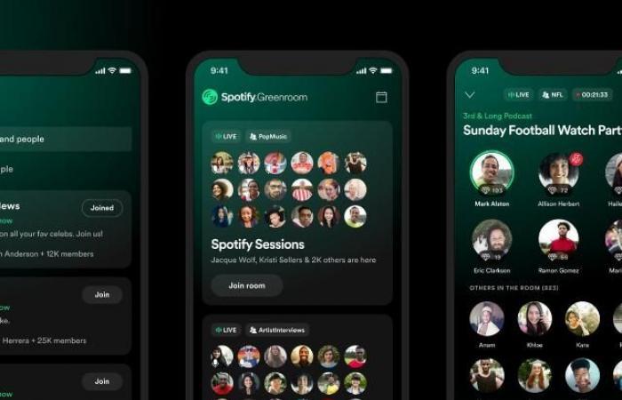 سبوتيفاي تطلق تطبيق الصوت المباشر Greenroom